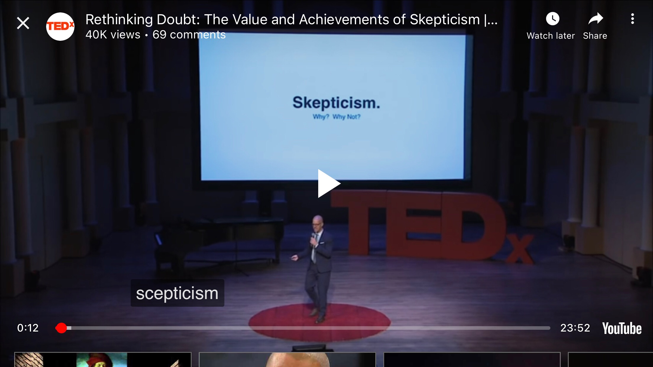 This TED Talk (Rethinking doubt) got me thinking