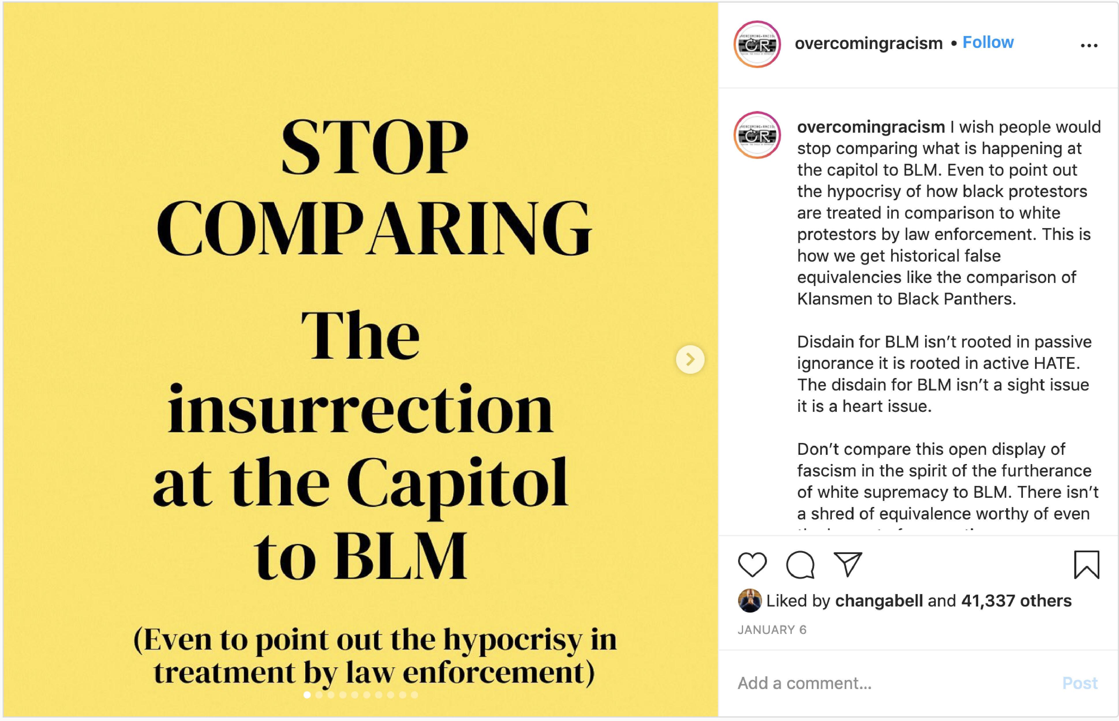 Instagram Post by overcomingracism