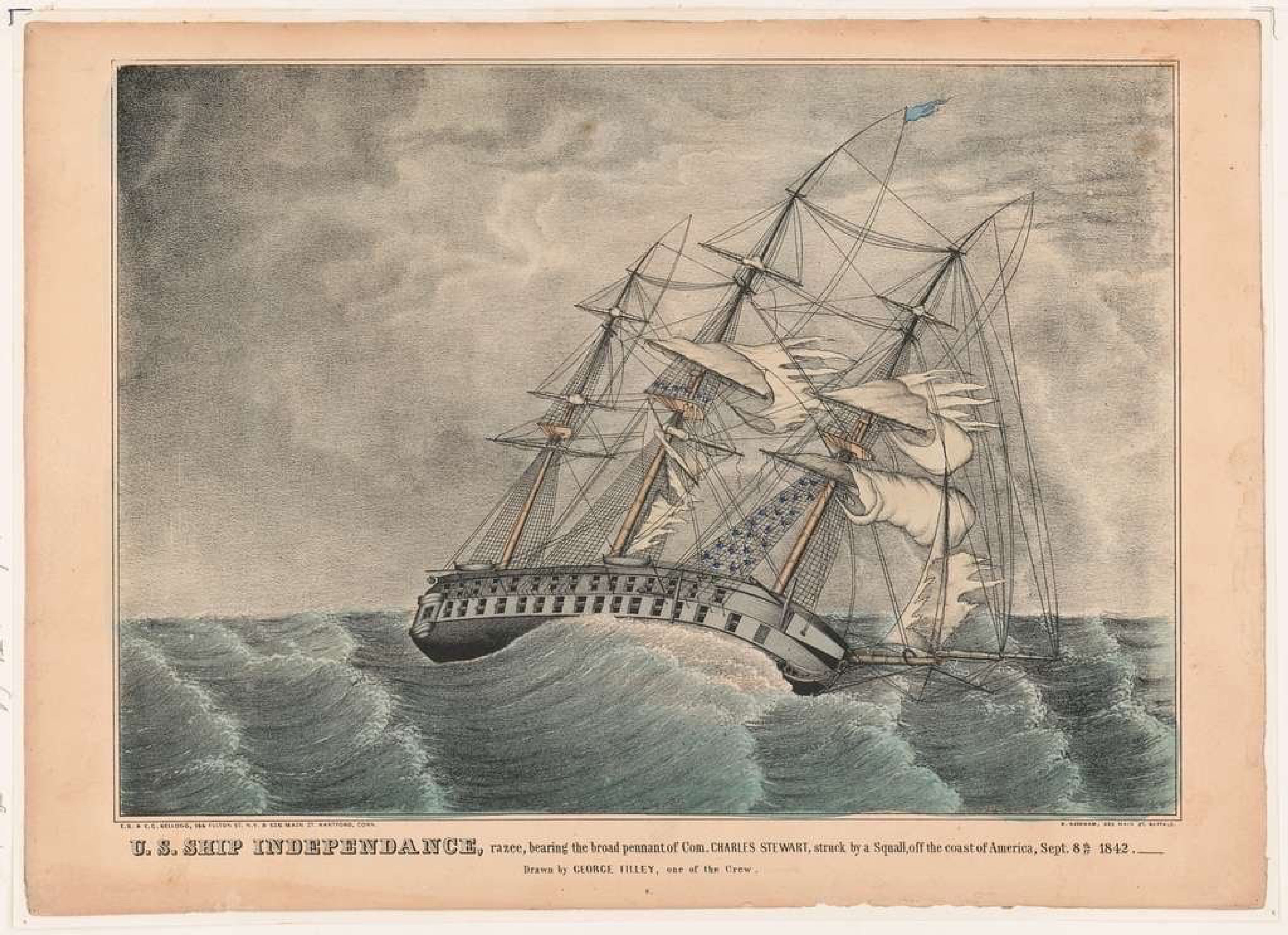 U.S. Ship Independence - lithograph