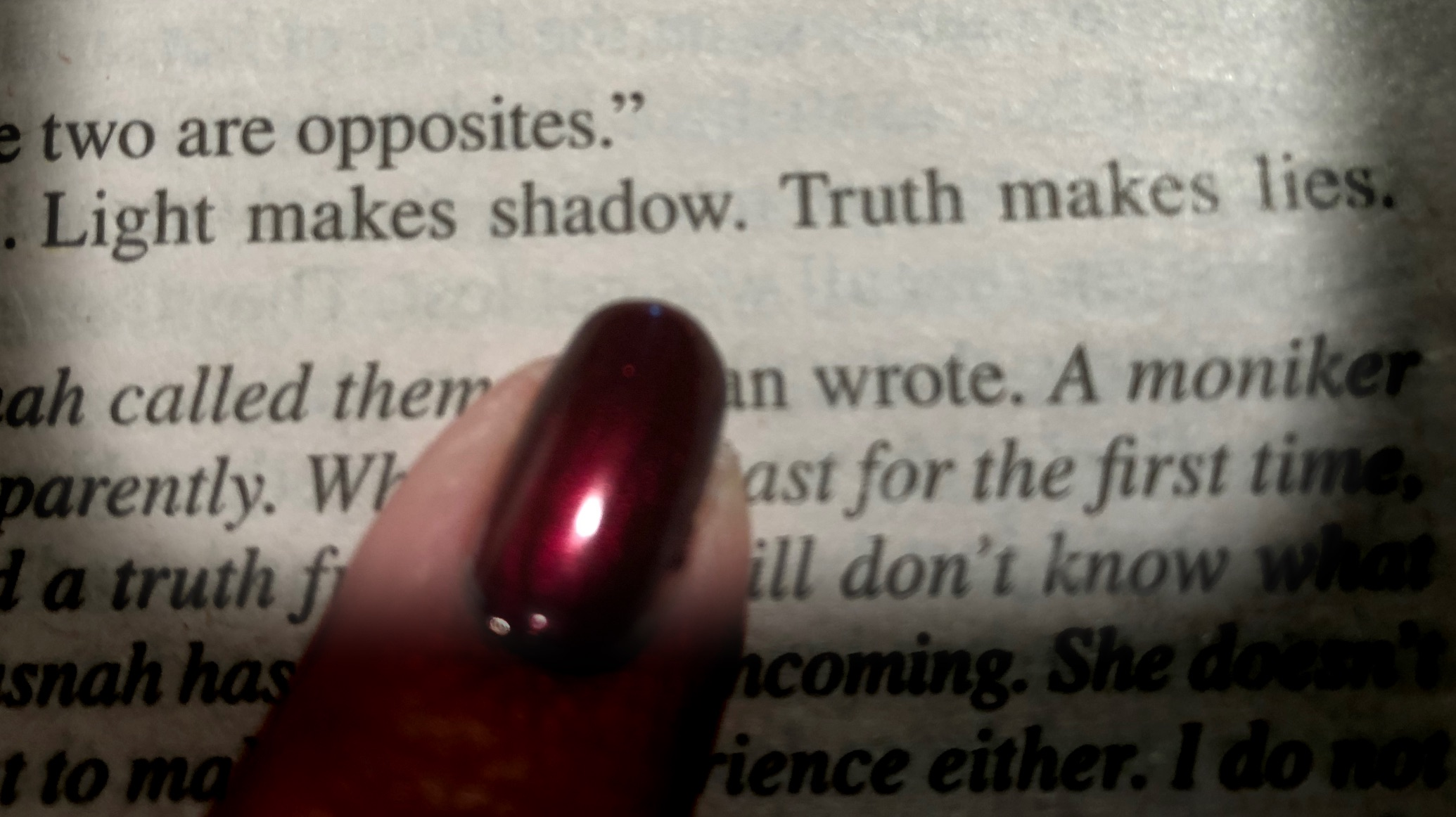 Light makes shadow. Truth makes lies.