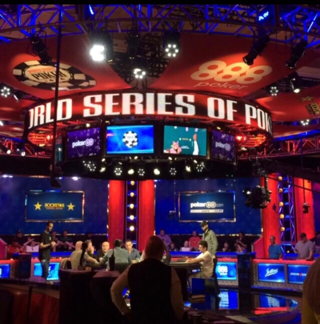 The television set for the 2018 WSOP.