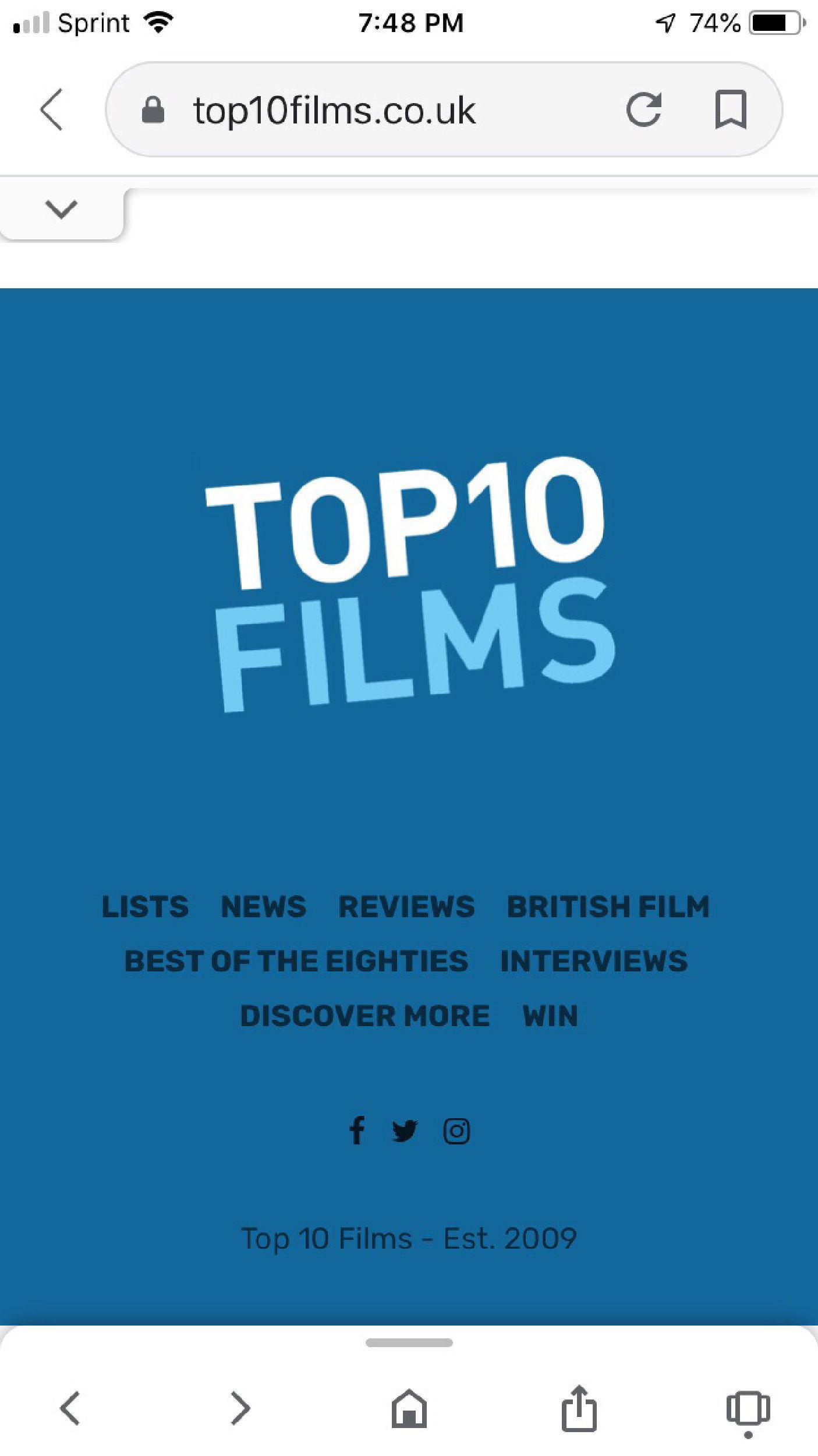 Top 10 Films website
